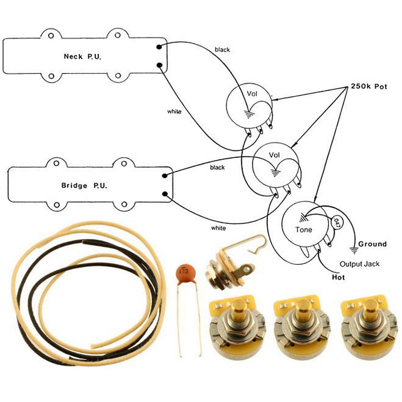 Allparts EP-4129-000 Wiring Kit for Jazz Bass thumbnail