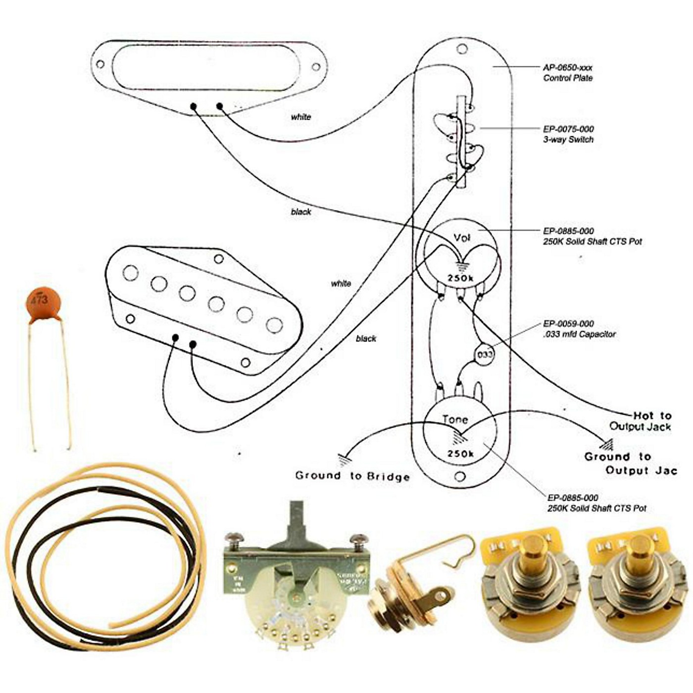 Allparts EP-4131-000 Wiring Kit for Tele Mod thumbnail
