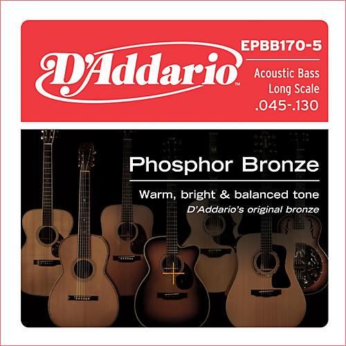 D'Addario EPBB170-5 Phosphor Bronze, Long-Scale, 5-String Acoustic Bass Guitar Strings thumbnail