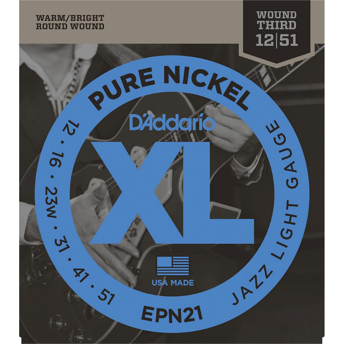 D'Addario EPN21 Pure Nickel Jazz Lite Electric Guitar Strings thumbnail
