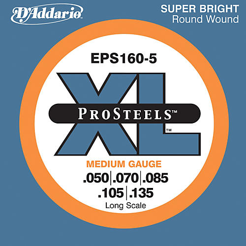 D'Addario EPS160-5 Pro Steels Medium Gauge Long Scale 5-String Bass Strings thumbnail
