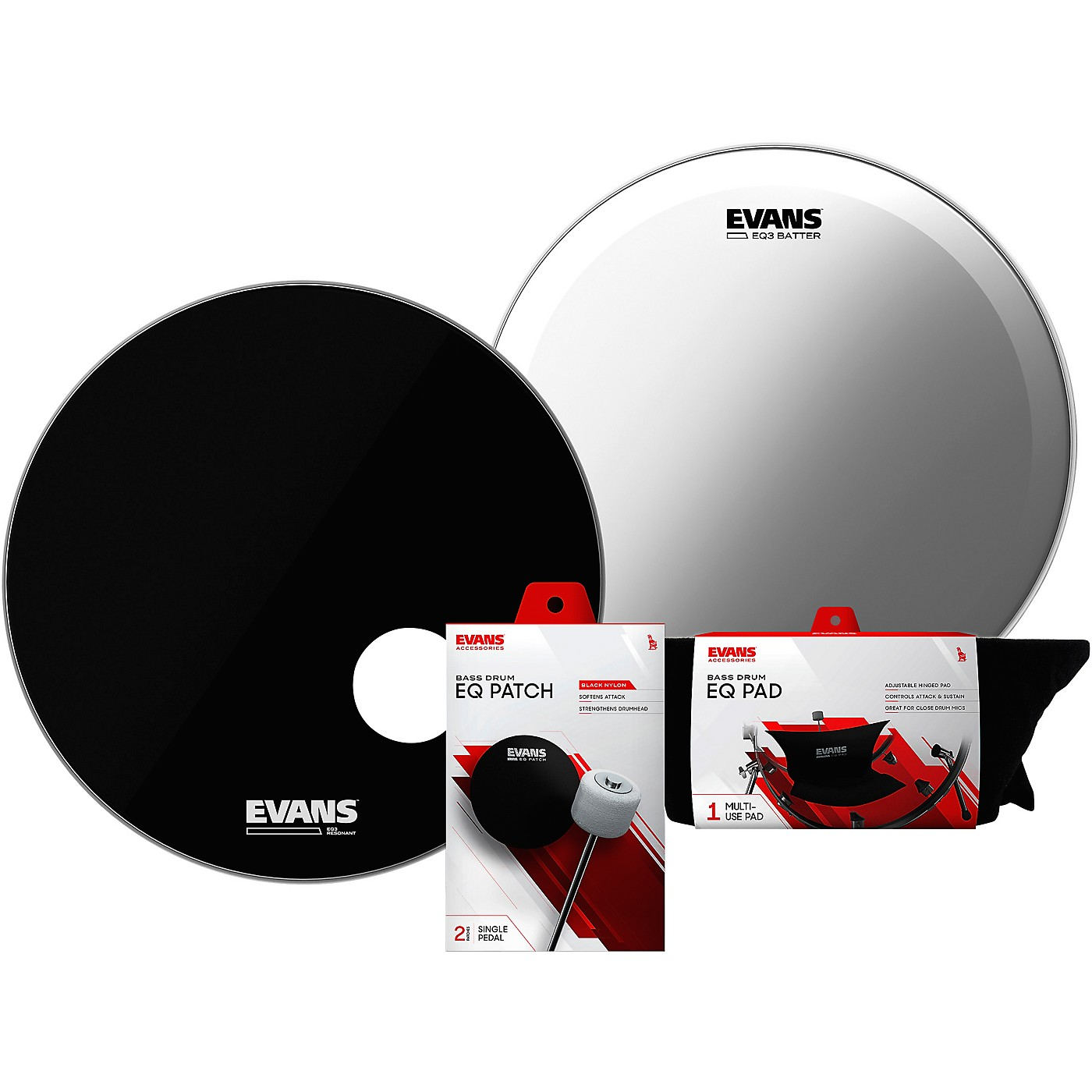 Evans EQ3 System Pack 22 inch Bass Drum Head Set thumbnail