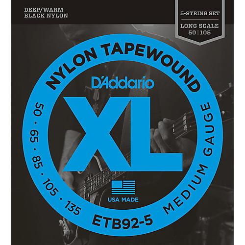 D'Addario ETB92-5 Medium Black Nylon Tapewound 5-String Bass Strings thumbnail