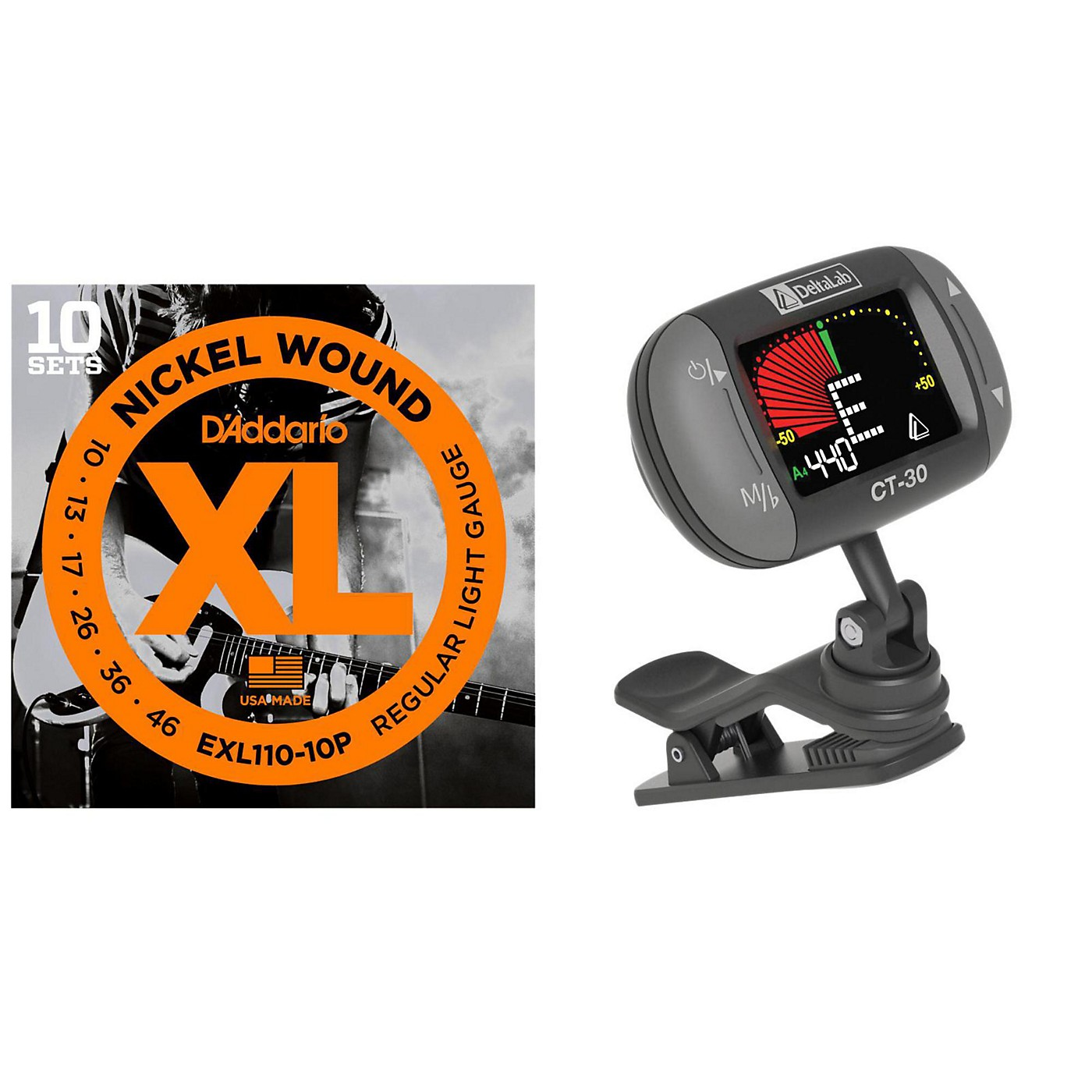 D'Addario EXL110-10P with a DeltaLab Clip-On Tuner thumbnail
