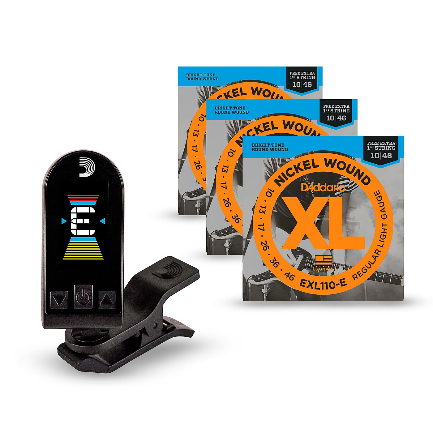 D'Addario EXL110-E Bonus 3-Pack: Light Nickel Wound Electric Guitar Strings with Bonus High E String and Equinox Tuner thumbnail