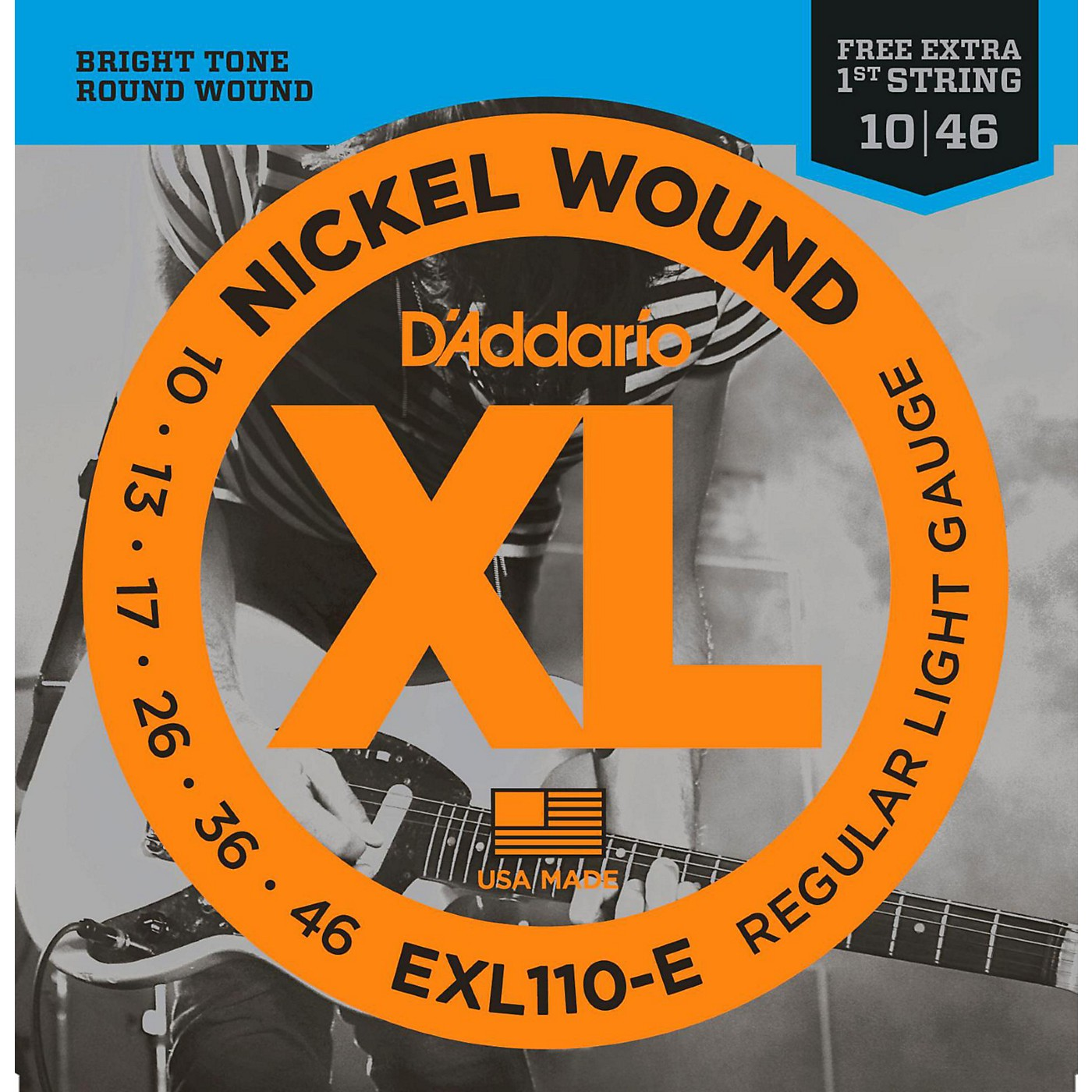 D'Addario EXL110-E Bonus Pack: Light Electric Guitar Strings with Bonus High E String (10-46) thumbnail