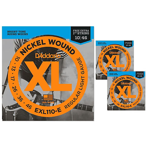 D'Addario EXL110-E Light Electric Guitar Strings 3-Pack with 3 Bonus High E Strings (10-46) thumbnail
