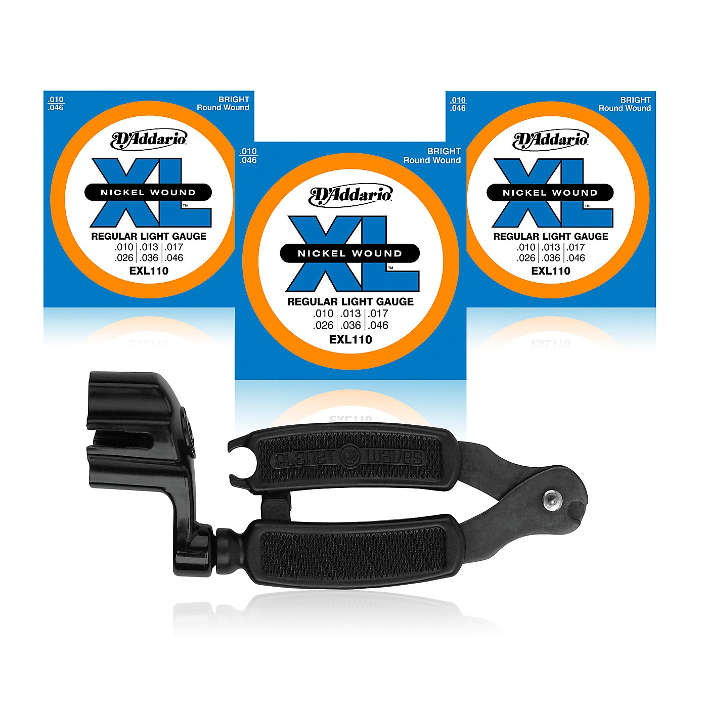 D'Addario EXL110 Light Electric Guitar Strings 3-Pack with Pro-Winder String Winder/Cutter thumbnail