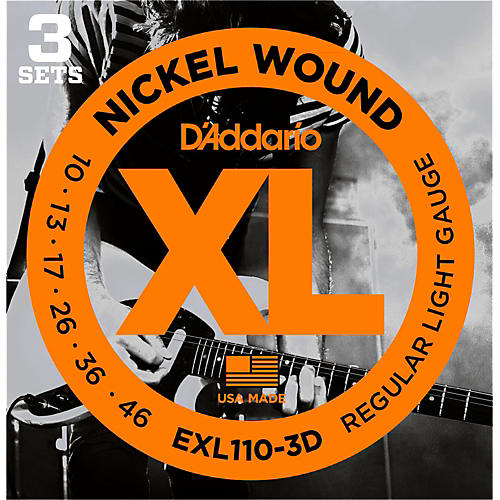 D'Addario EXL110 Nickel Light Electric Guitar Strings 3-Pack thumbnail