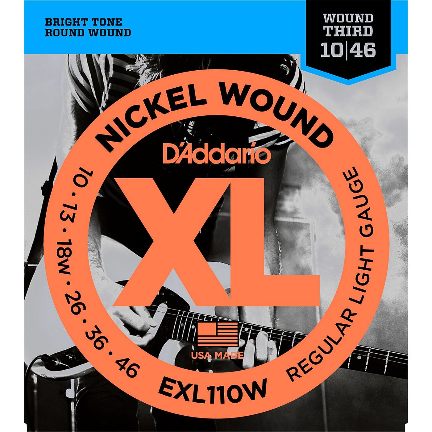 D'Addario EXL110W Nickel Regular Light Wound 3rd Electric Guitar Strings thumbnail