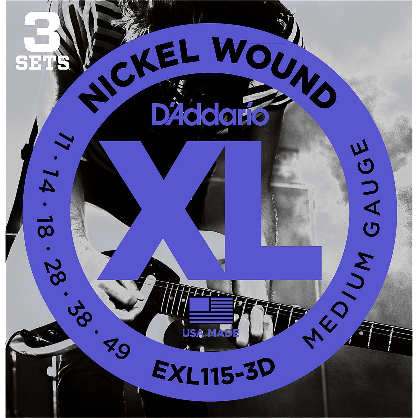 D'Addario EXL115 Medium Gauge Guitar Strings 3-Pack thumbnail