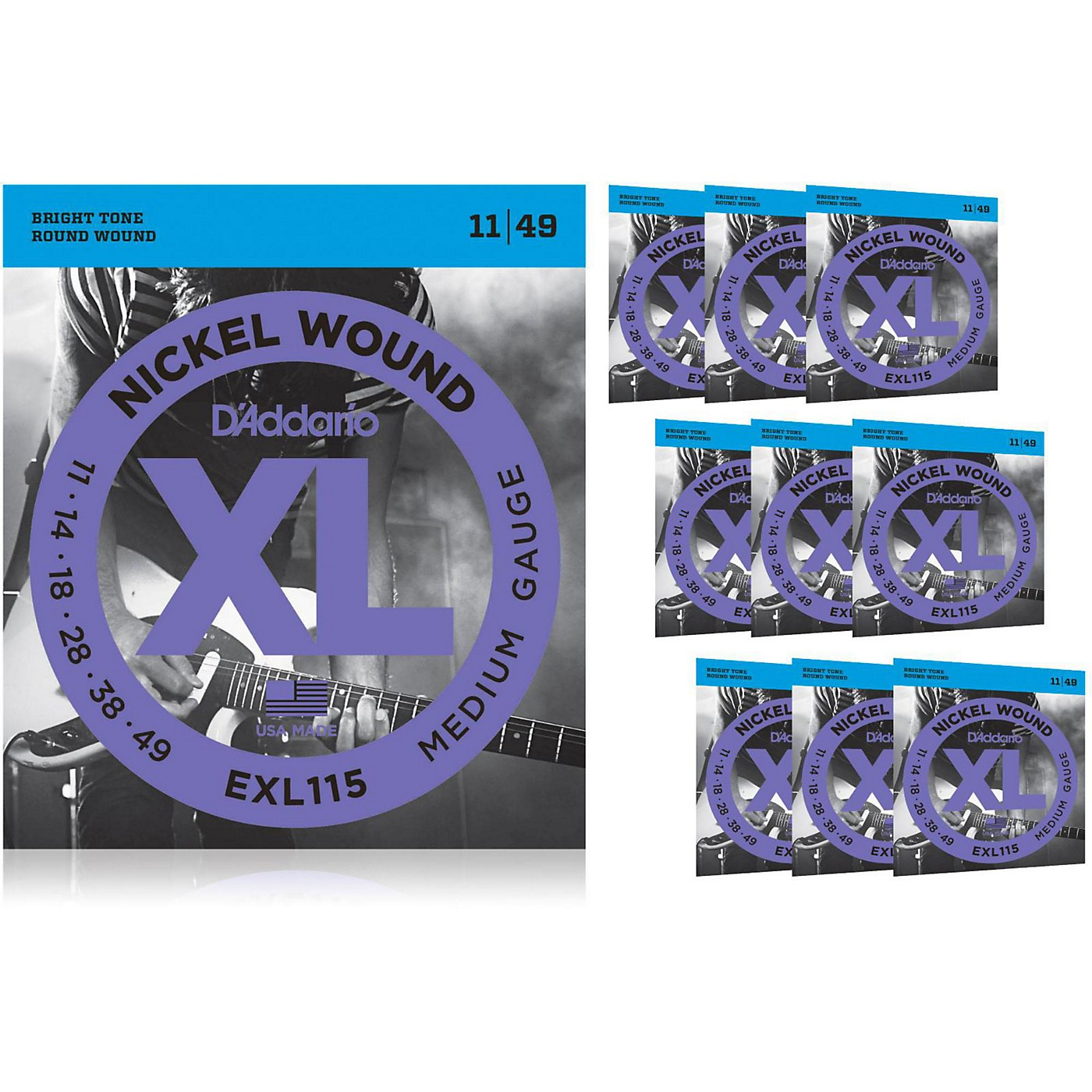 D'Addario EXL115BT Balanced Tension Medium Electric Guitar Strings 10 Pack thumbnail