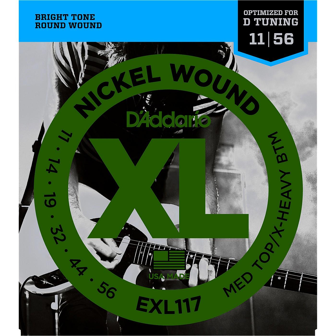 D'Addario EXL117 Medium Top/Extra-Heavy Bottom, Nickel-Wound Electric Guitar Strings thumbnail