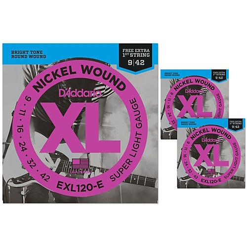 D'Addario EXL120-E Bonus Pack: Super Light Electric Guitar Strings 3 Pack with 3 Bonus High E Strings (9-42) thumbnail