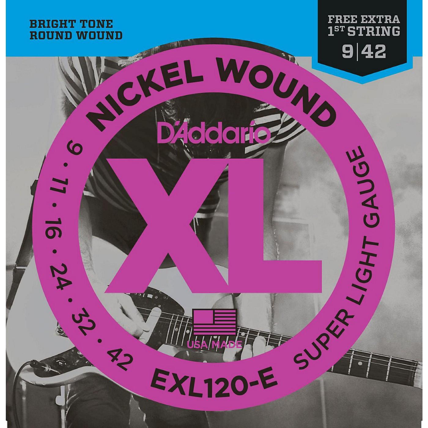 D'Addario EXL120-E Bonus Pack: Super Light Electric Guitar Strings with Bonus High E String (9-42) thumbnail