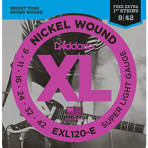 D'Addario EXL120-E Bonus Pack: Super Light Electric Guitar Strings with Bonus High E String (9-42) thumbnail