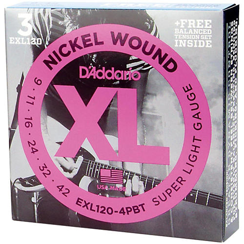 D'Addario EXL120 Nickel Super Light Electric Guitar Strings 3-Pack with FREE EXLEXL120BT X-Lite Set thumbnail