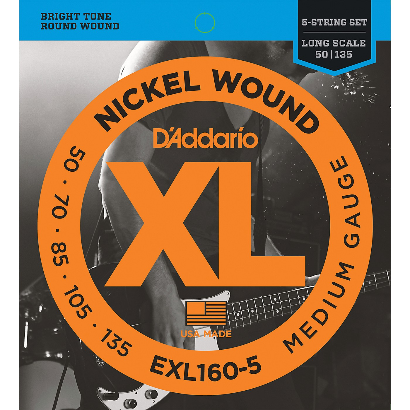 D'Addario EXL160-5 XL 5-String Bass Regular/Long String Set thumbnail