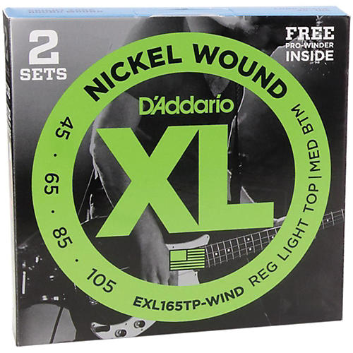 D'Addario EXL165TP Bass Strings Long (45-105) 2-Pack with FREE Holiday Pro-Winder thumbnail