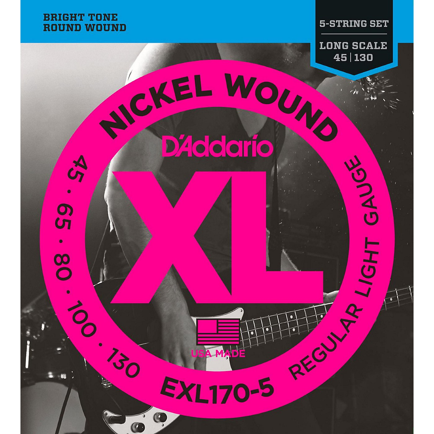 D'Addario EXL170-5 XL Nickel Round Wound 5-String Long Bass Strings thumbnail