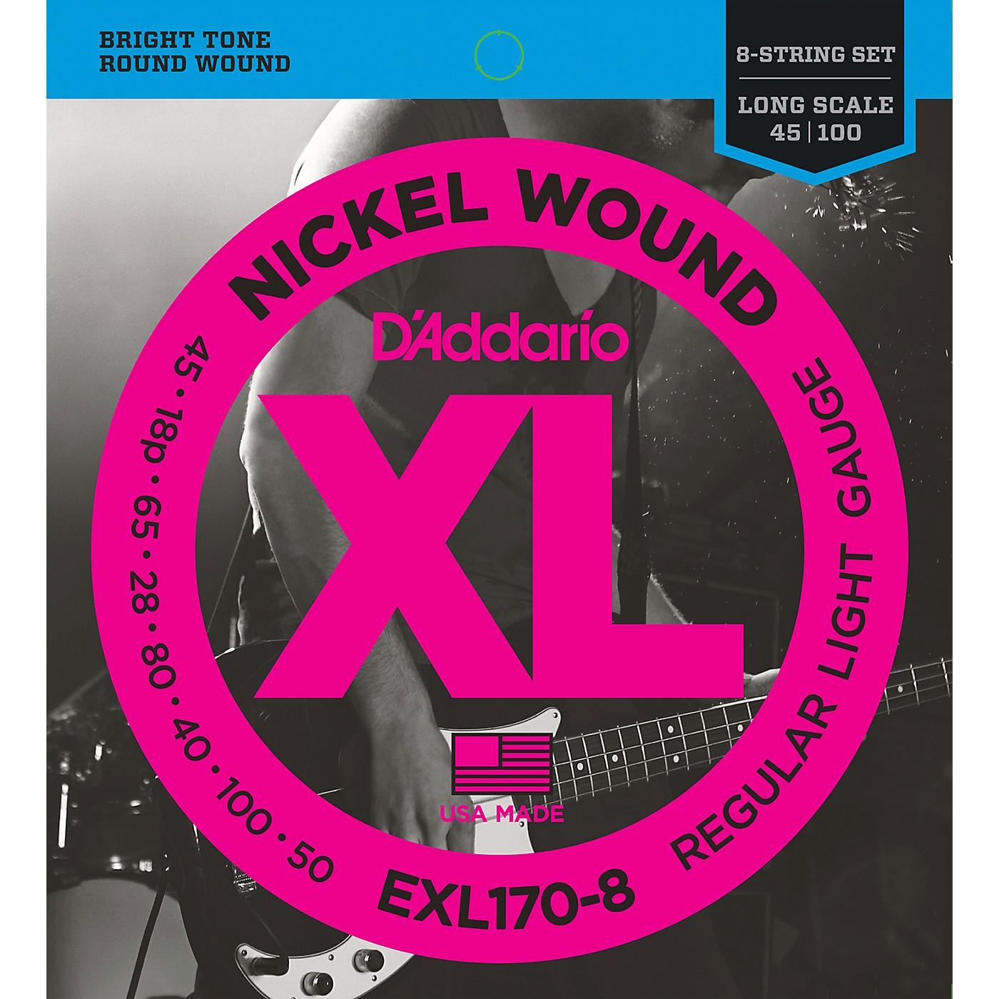 D'Addario EXL170-8 Nickel Wound Electric Bass 8 String Soft / Long thumbnail