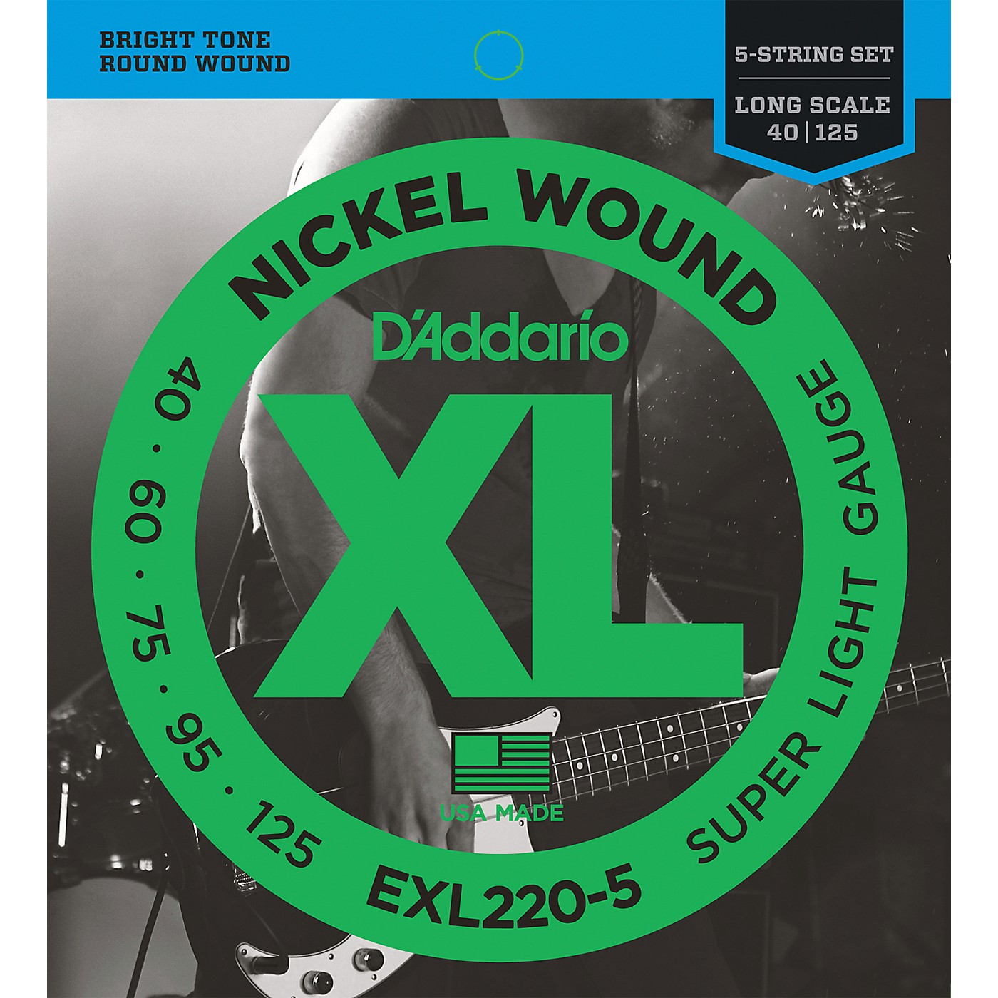 D'Addario EXL220-5 XL 5-String Bass Super Soft/Long String Set thumbnail