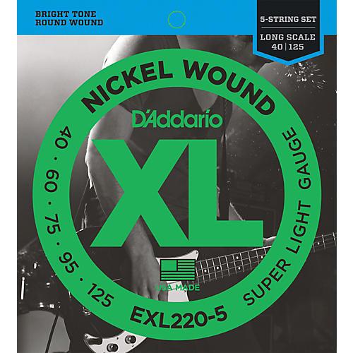 D'Addario EXL220-5 XL 5-String Bass Super Soft/Long String Set thumbnail