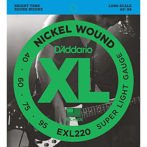 D'Addario EXL220 XL Nickel Round Wound Super Light Bright Electric Bass Strings thumbnail