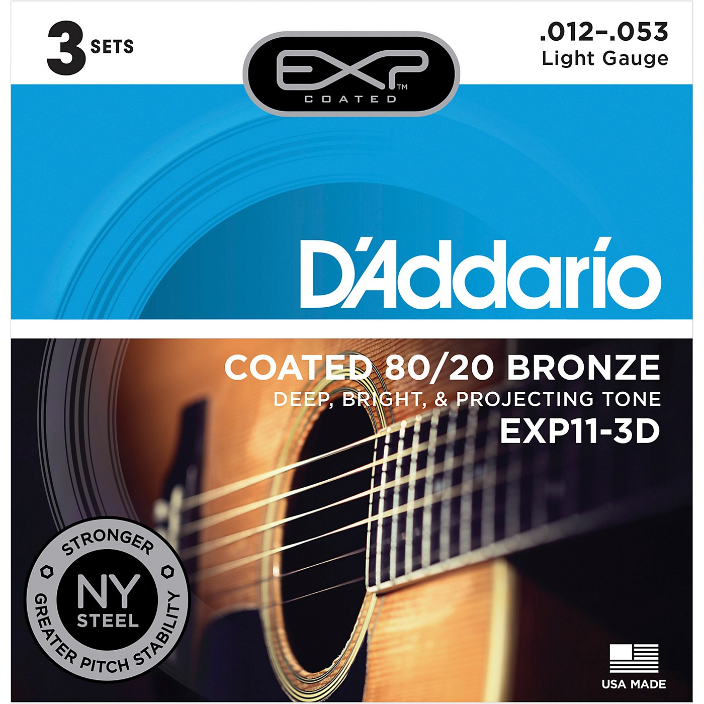 D'Addario EXP11-3D Coated 80/20 Bronze Light Acoustic Guitar Strings 3-Pack thumbnail