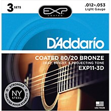 D'Addario EXP11-3D Coated 80/20 Bronze Light Acoustic Guitar Strings 3-Pack