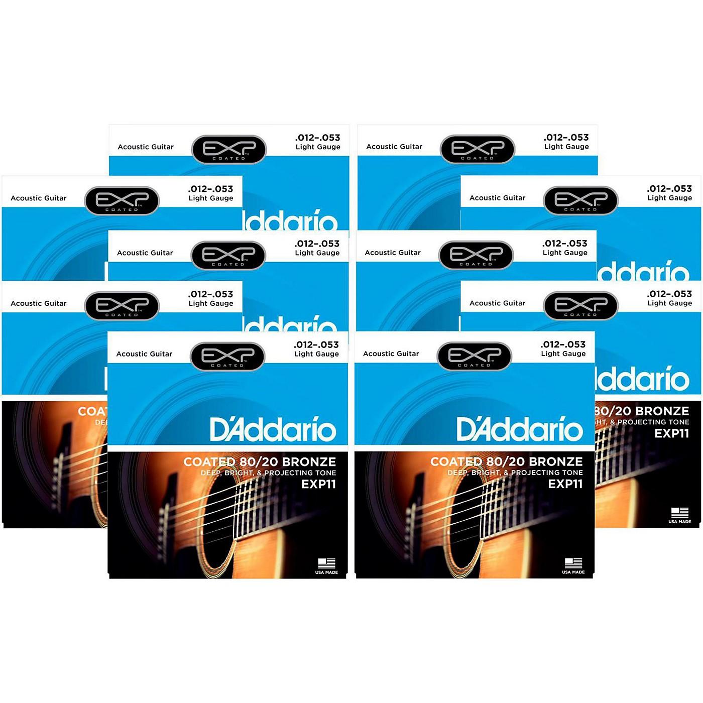 D'Addario EXP11 Coated 80/20 Bronze Light Acoustic Guitar Strings - 10 Pack thumbnail