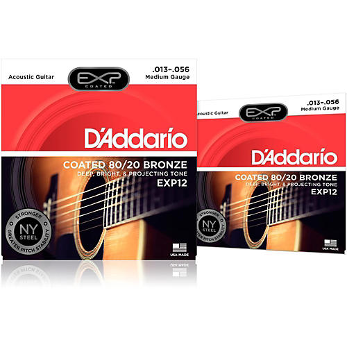 D'Addario EXP12 Coated 80/20 Bronze Medium Acoustic Guitar Strings 2-Pack thumbnail
