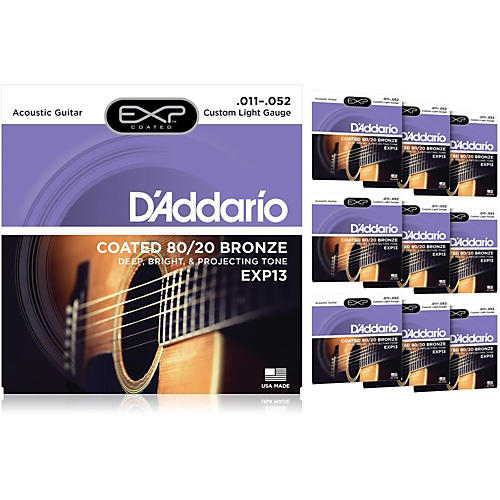 D'Addario EXP13 Coated 80/20 Bronze Custom Light Acoustic Guitar Strings - 10 Pack thumbnail