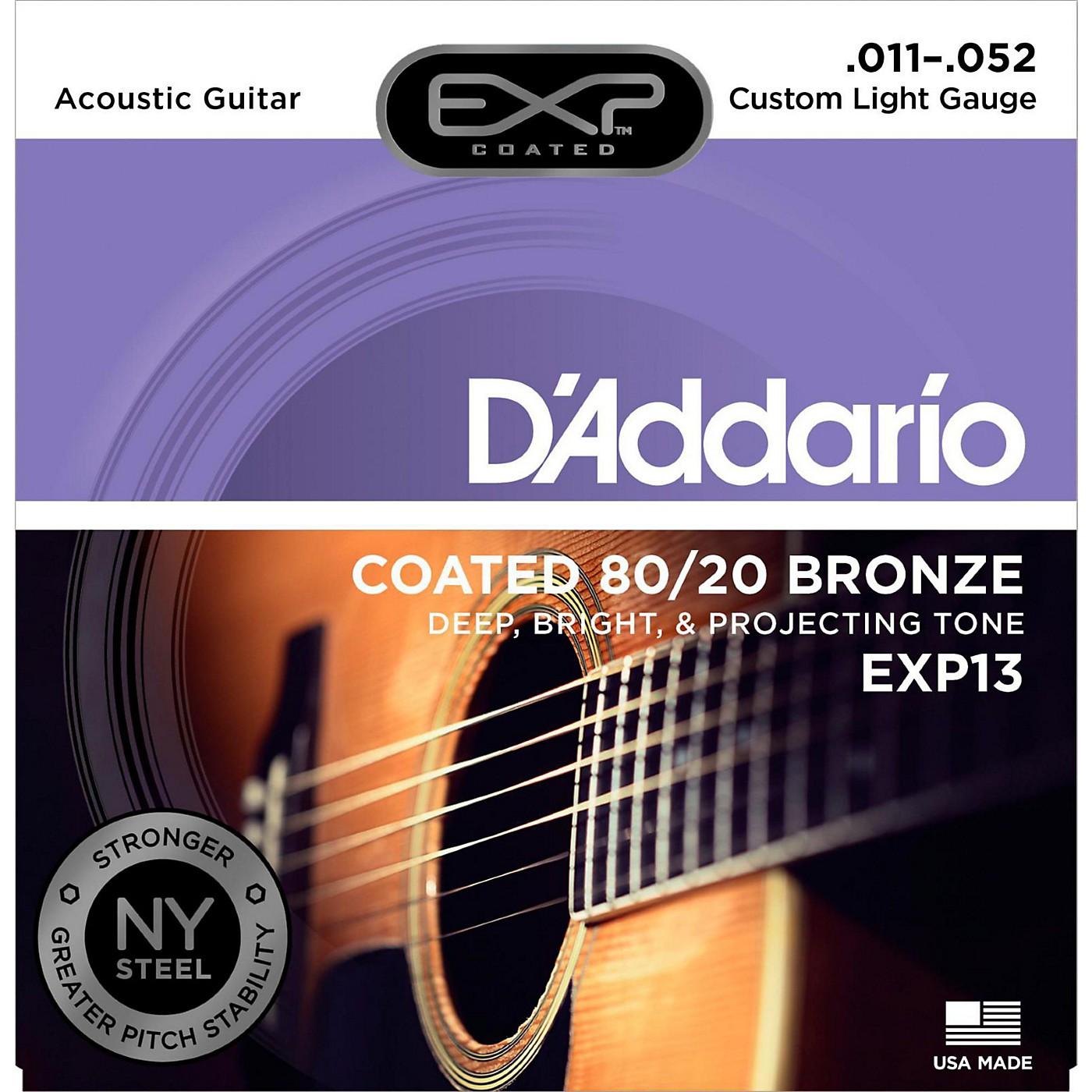 D'Addario EXP13 Coated 80/20 Bronze Custom Light Acoustic Guitar Strings thumbnail