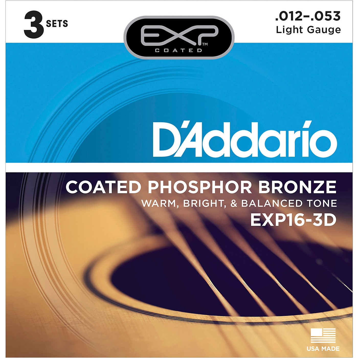 D'Addario EXP16-3D Coated Phosphor Bronze Light Acoustic Guitar Strings 3-Pack thumbnail