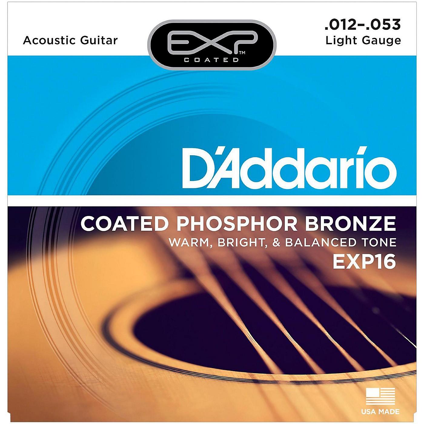 D'Addario EXP16 Coated Phosphor Bronze Light Acoustic Guitar Strings thumbnail