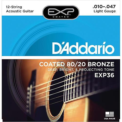 D'Addario EXP36 Coated 80/20 Bronze Light 12-String Acoustic Guitar Strings thumbnail