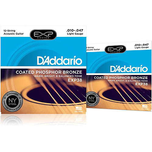 D'Addario EXP38 12-String Coated Phosphor Bronze Light Acoustic Guitar Strings 2-Pack thumbnail