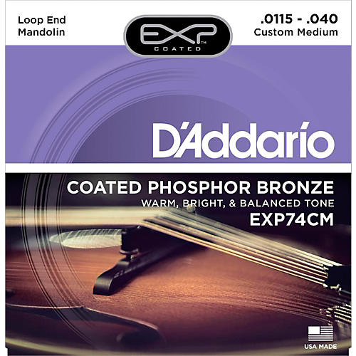 D'Addario EXP74CM Coated Phosphor Bronze Custom Medium Mandolin Strings (11.5-40) thumbnail