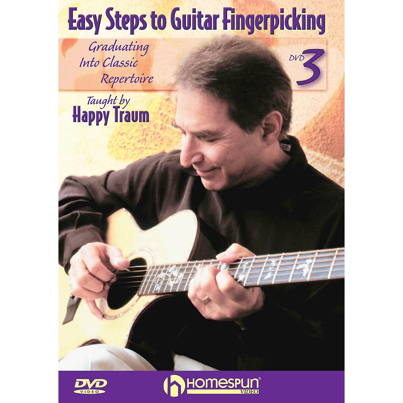 Homespun Easy Steps to Guitar Fingerpicking Instructional/Guitar/DVD Series DVD Written by Happy Traum thumbnail