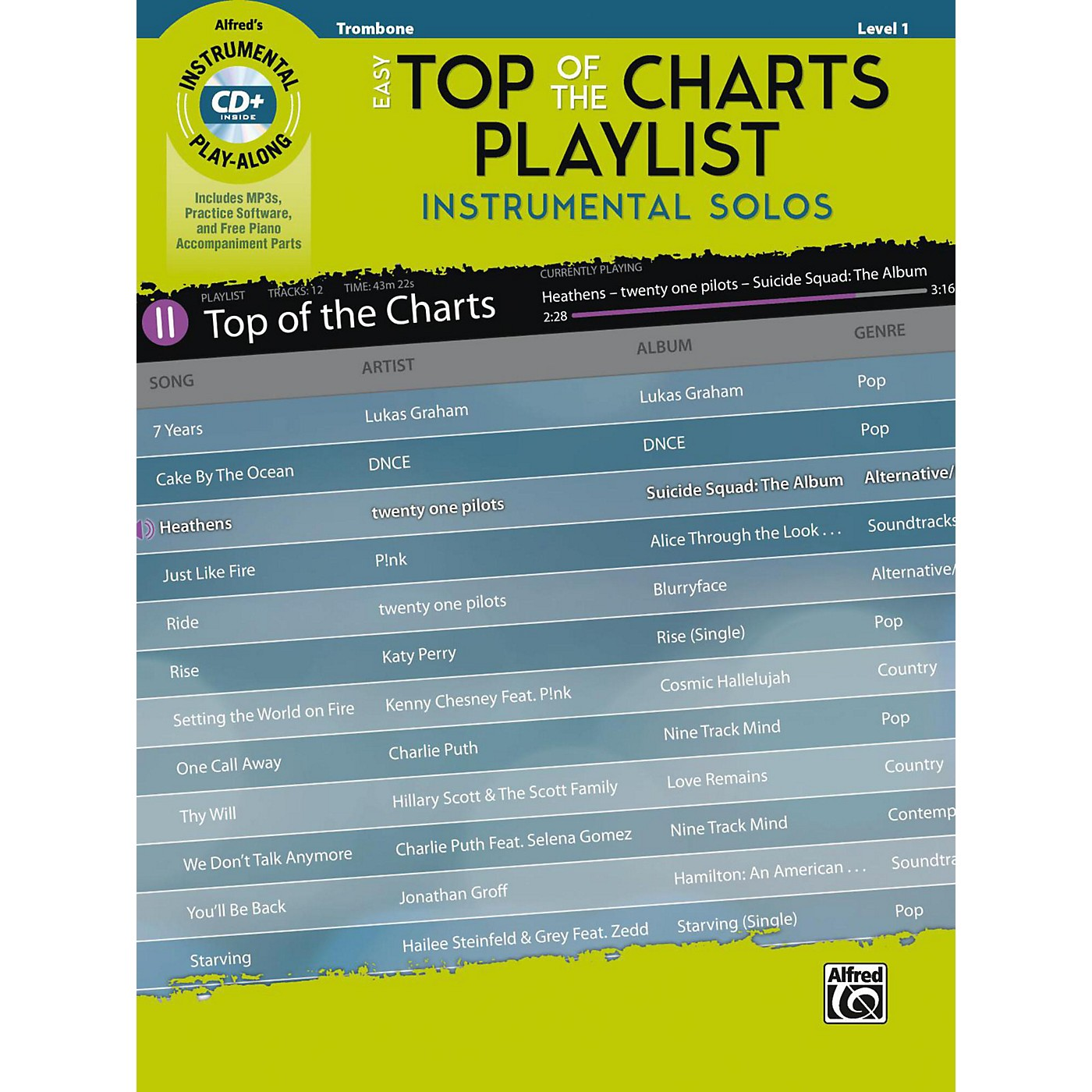 Alfred Easy Top of the Charts Playlist Instrumental Solos Trombone Book & CD Level 1 thumbnail