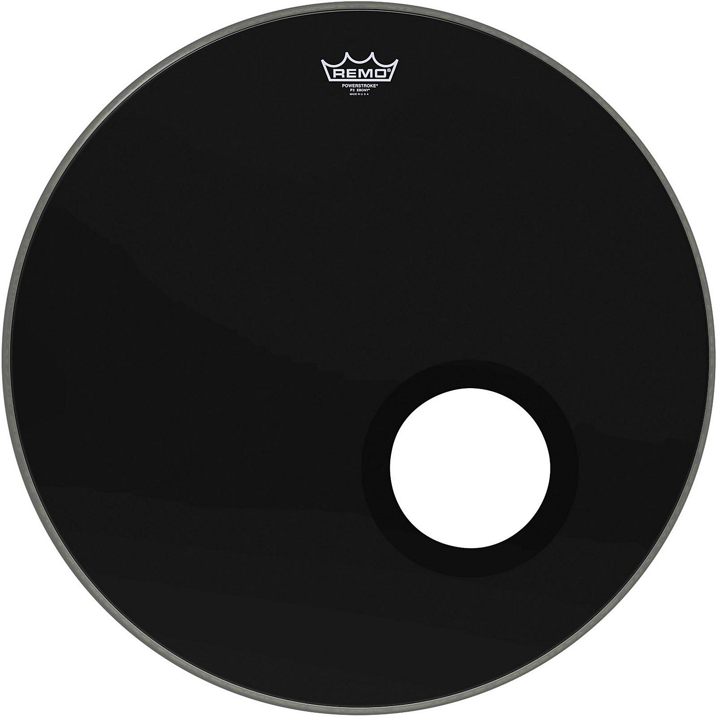 Remo Ebony Powerstroke 3 Resonant Bass Drum Head with 5 Port Hole thumbnail