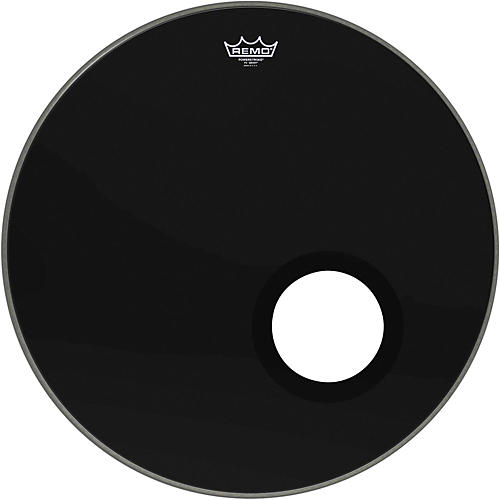 Remo Ebony Powerstroke 3 Resonant Bass Drumhead with 5 Inch Port Hole thumbnail