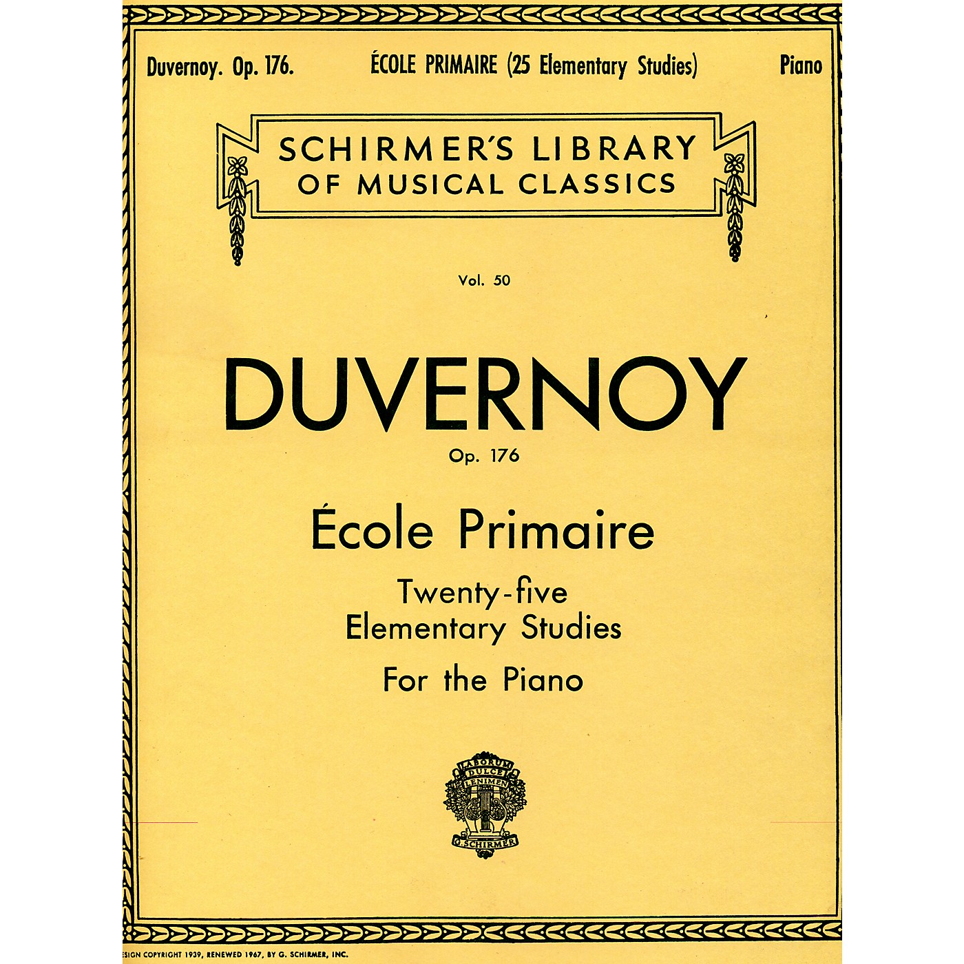 G. Schirmer Ecole Primaire Op 176 Piano Twenty Five Elementary Studies By Duvernoy thumbnail
