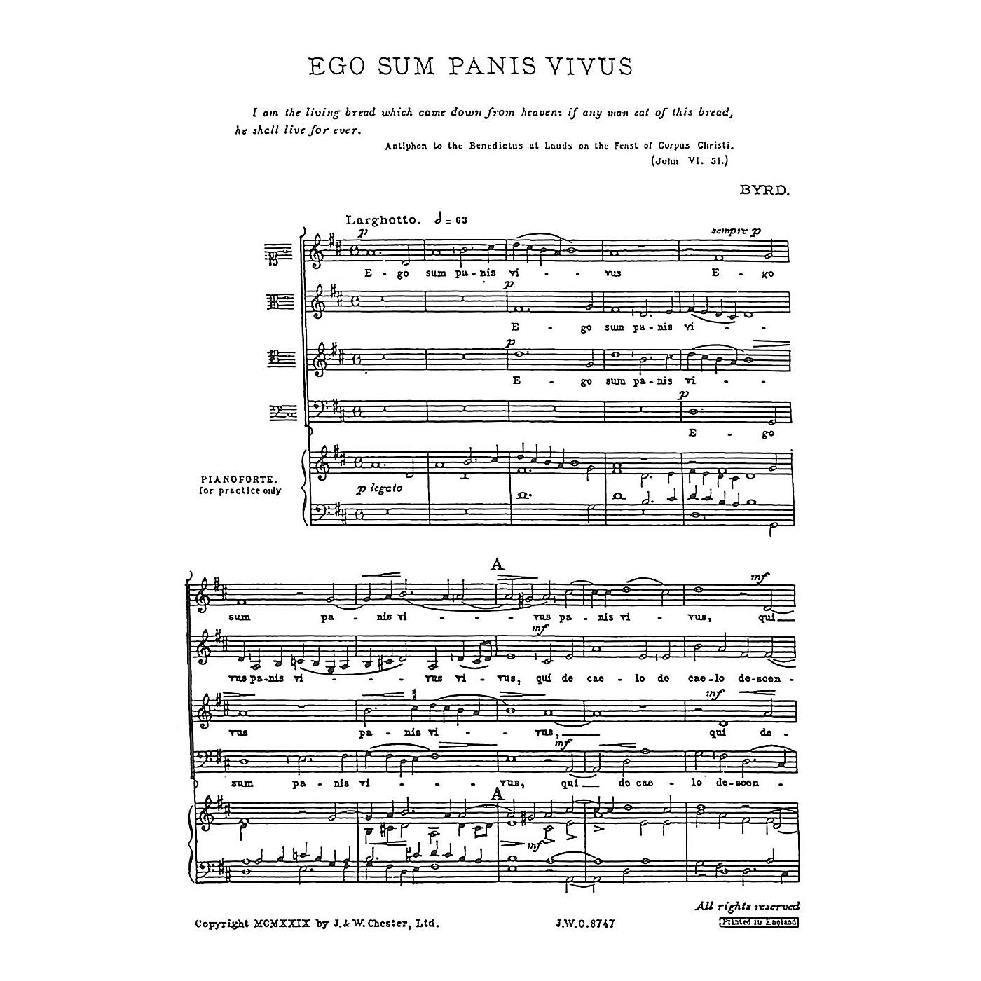 Chester Music Ego sum panis vivus SATB thumbnail