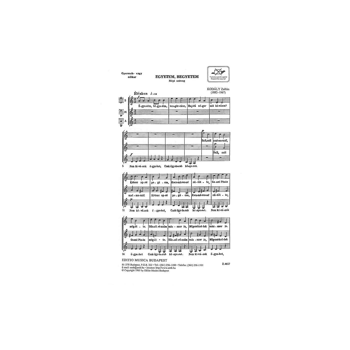 Editio Musica Budapest Egyetem, Begyetem (Hippity, Hoppity) SSA Composed by Zoltán Kodály thumbnail