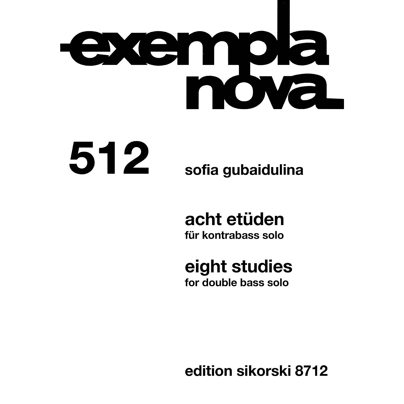 Sikorski Eight Studies [Acht Etüden] (Double Bass Solo) String Series Softcover thumbnail