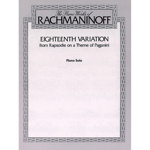 Alfred Eighteenth Variation (from Rhapsodie on a Theme of Paganini) Piano Solo Book thumbnail