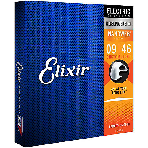 Elixir Electric Guitar Strings with NANOWEB Coating, Custom Light (.009-.046) thumbnail