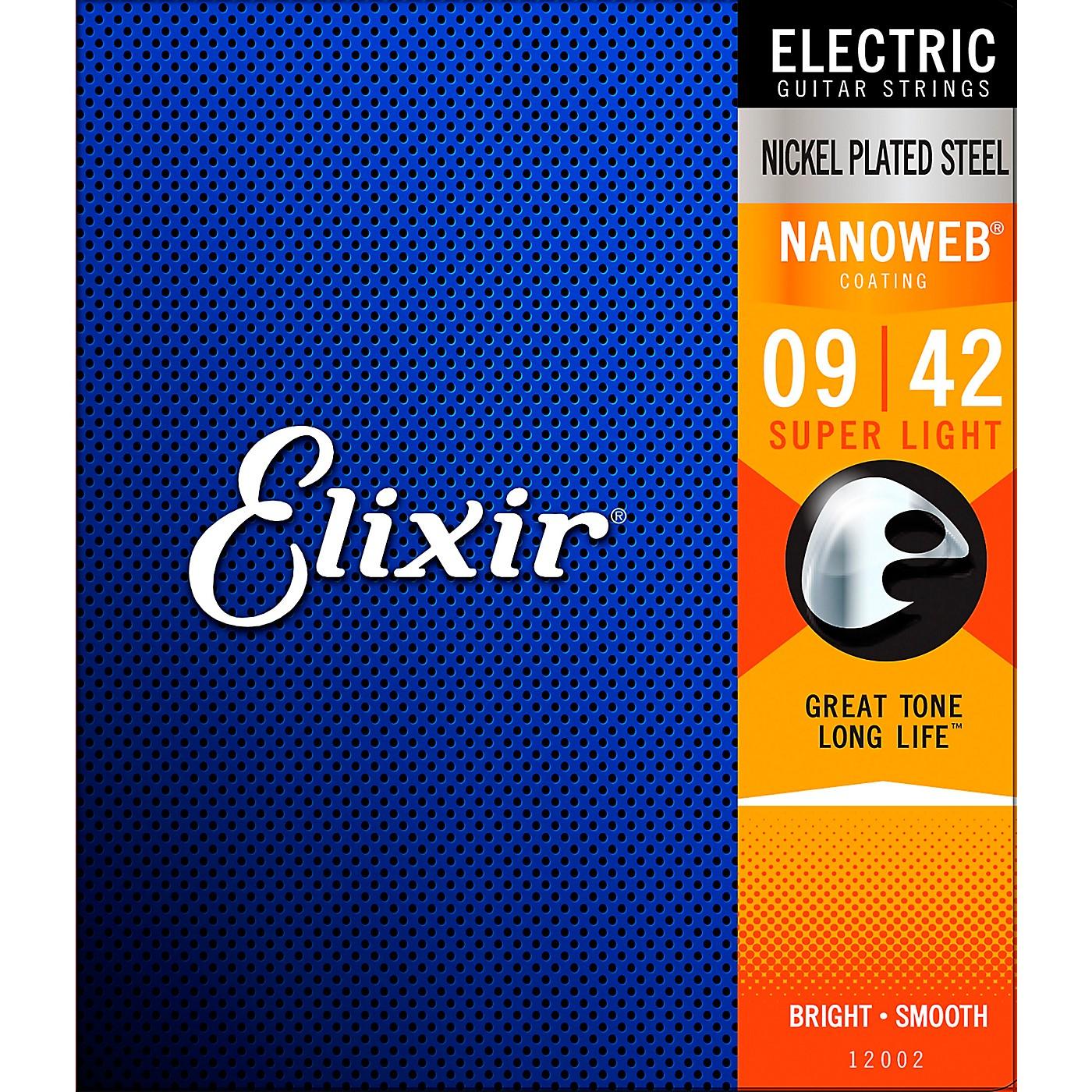 Elixir Electric Guitar Strings with NANOWEB Coating, Super Light (.009-.042) thumbnail